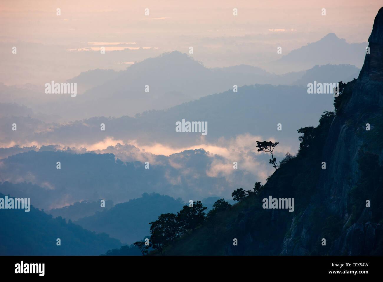 the Ella Gap at dawn, Southern Highlands, Sri Lanka - Stock Image