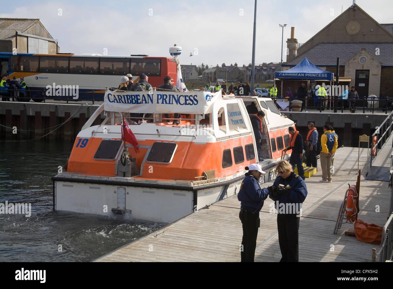 Kirkwall Orkney Islands UK Landing craft of Caribbean Princess cruise liner disembarking passengers for tour of - Stock Image