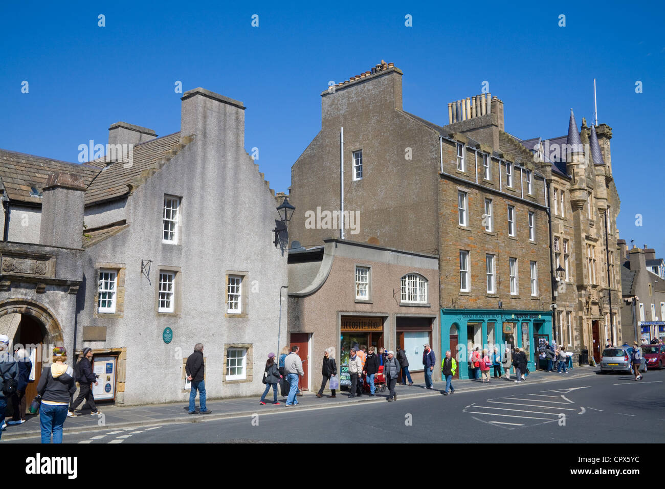 Kirkwall Orkney Islands UK View down Broad Street with Orkney Museum and old Town Hall buildings - Stock Image