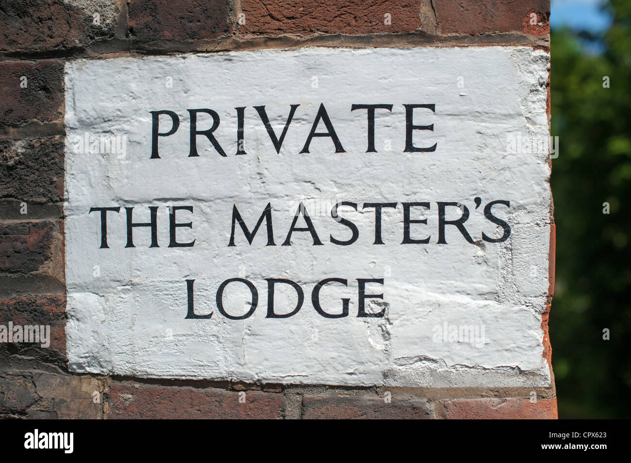 Sign painted on a wall at Jesus College Cambridge for the Masters lodge - Stock Image