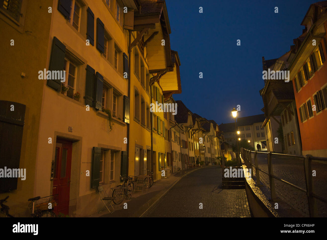 Old city of Aarau in the blue hour. The newly made inner circle roads were just completed in the year 2011/2012 - Stock Image