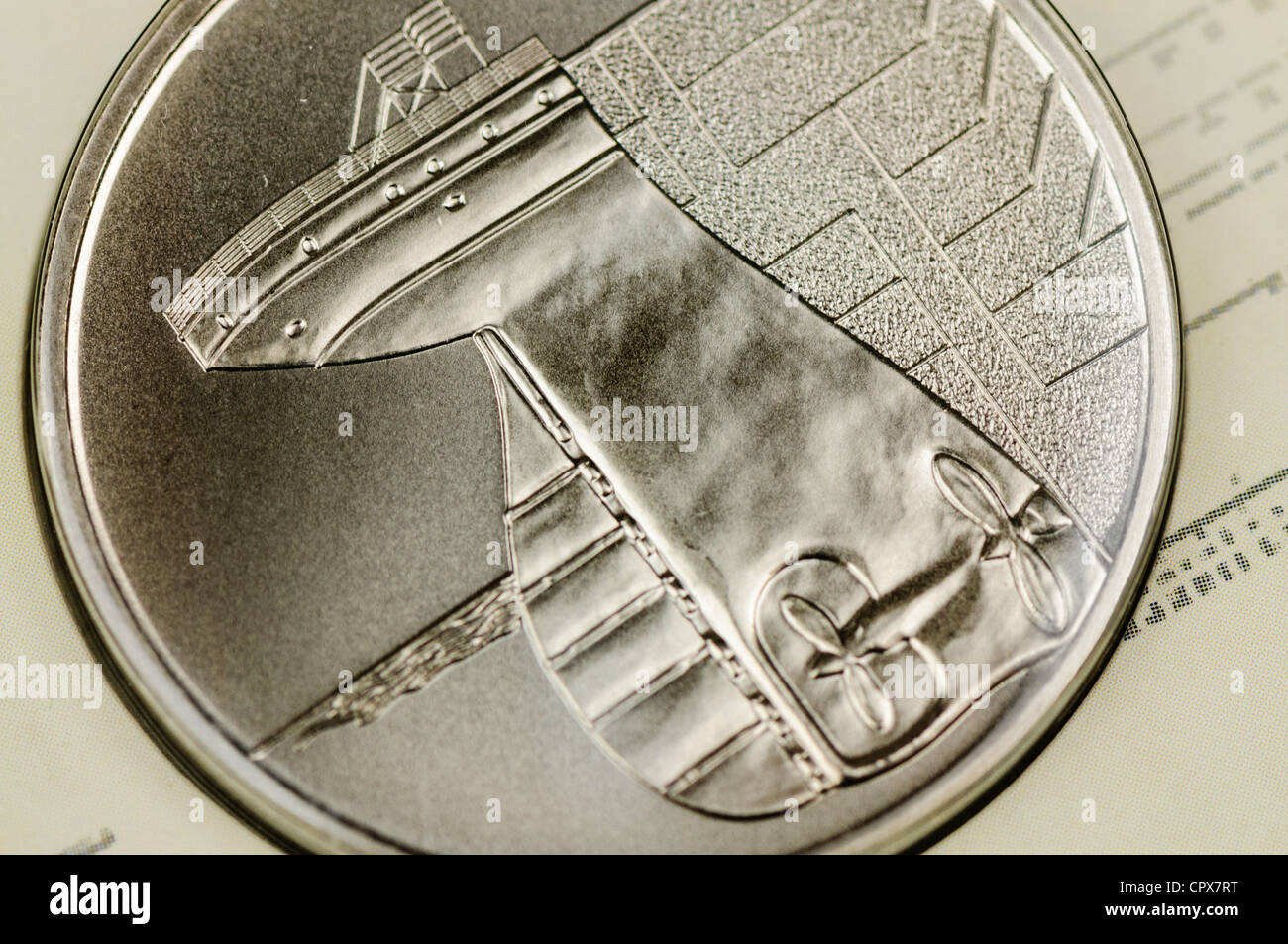 Titanic memorial coin - Stock Image