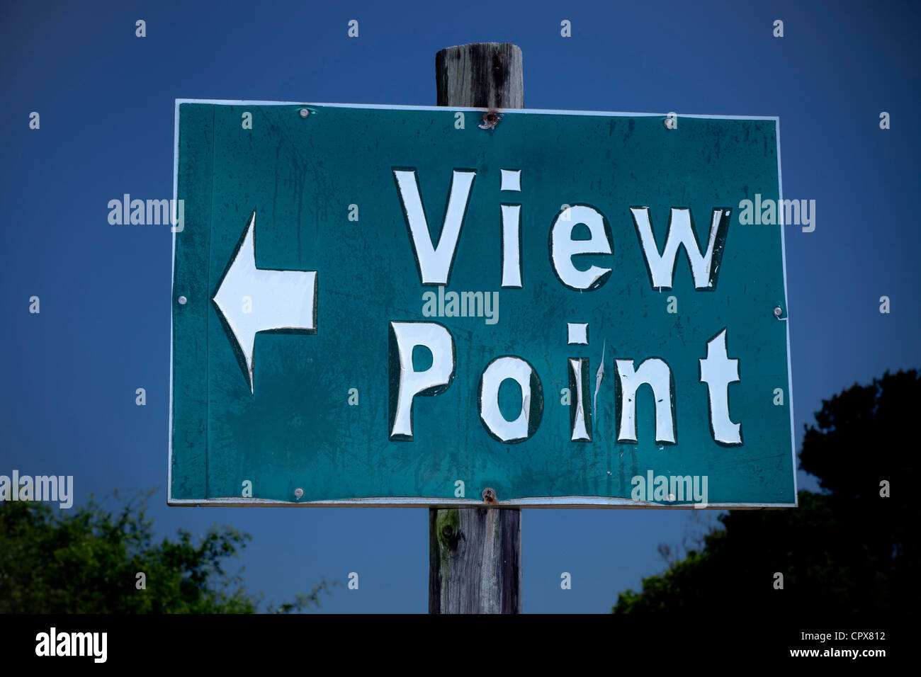 Closeup of an information sign that reads 'View Point' - Stock Image