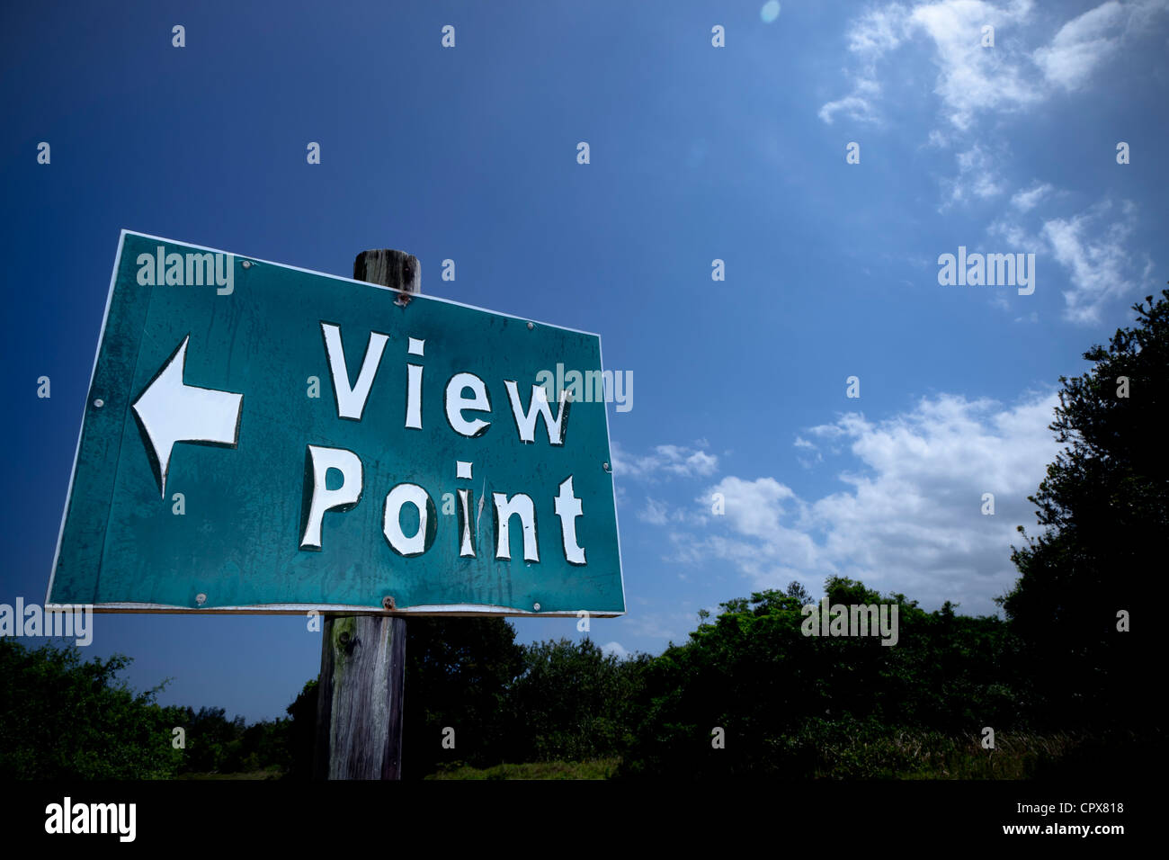Closeup of an information sign that reads 'View Point', with a cloudy sky in the background - Stock Image