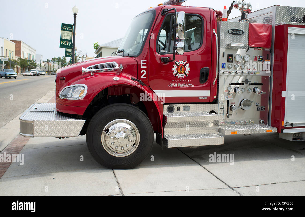 Fire truck City of Perry Fire Dept northwest Florida USA Your tax dollars at work inscribed on the door - Stock Image
