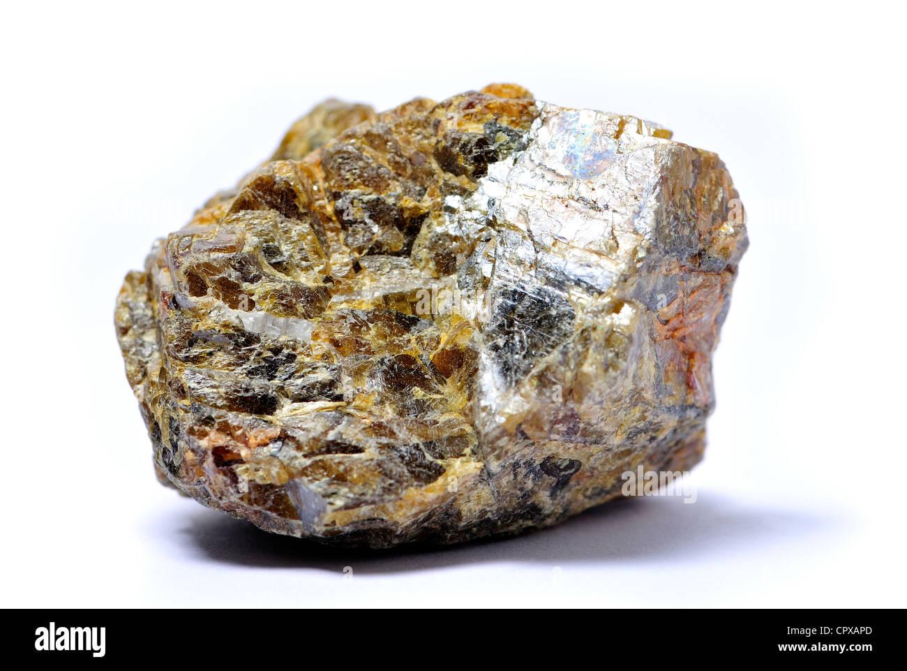 Sphalerite (zinc sulphide) - principle ore of zinc, from Aliva, Spain. - Stock Image