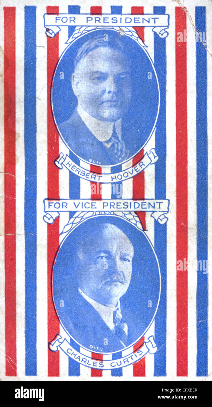 A 1928 Republican note card with portraits of American president Herbert Hoover and Vice-president Charles Curtis - Stock Image