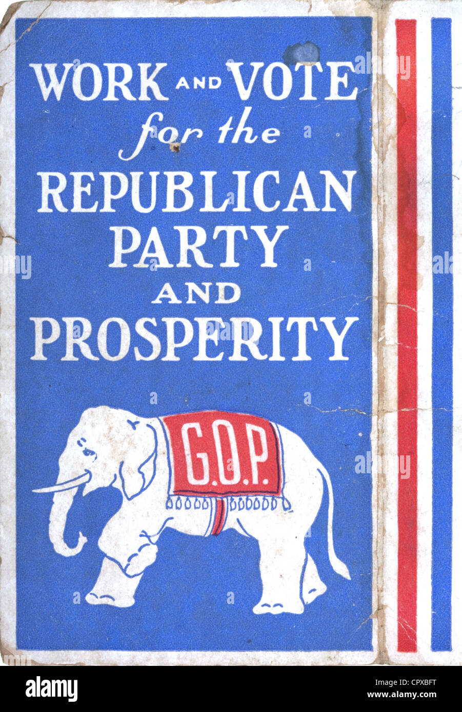 A 1928 GOP note card with slogans and the elephant as the symbol of the Republican Party - Stock Image