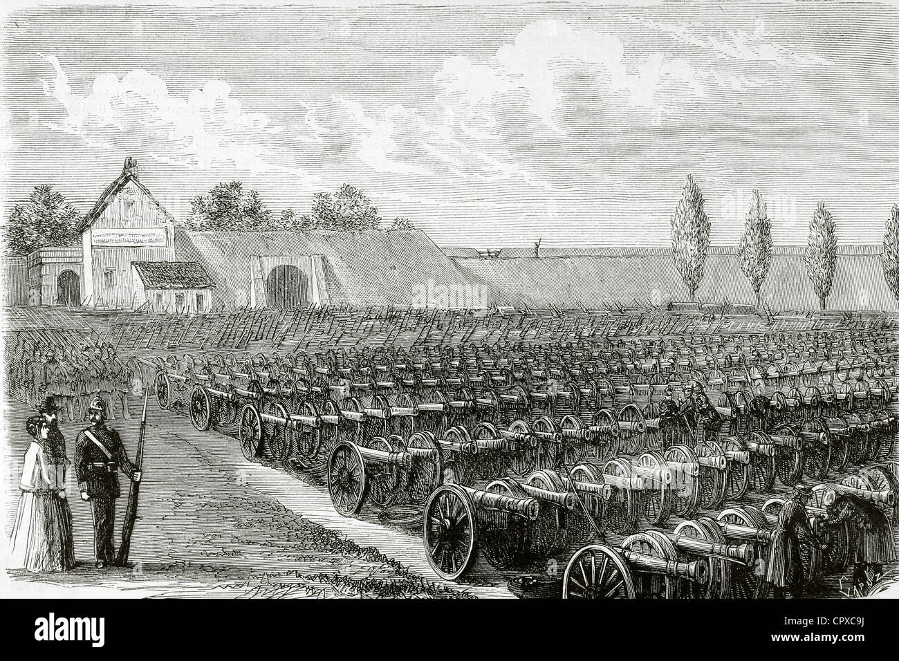 Franco-Prussian War (1870-1871). Cannons taken in Sedan. The Spanish Illustration, 1871. Engraving by Capuz. - Stock Image
