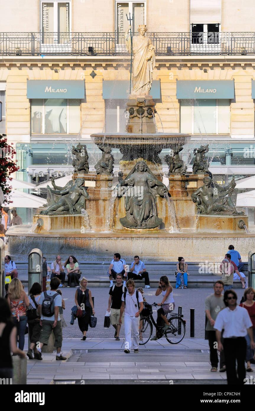 France, Loire Atlantique, Nantes, Place Royale and fountain Stock Photo