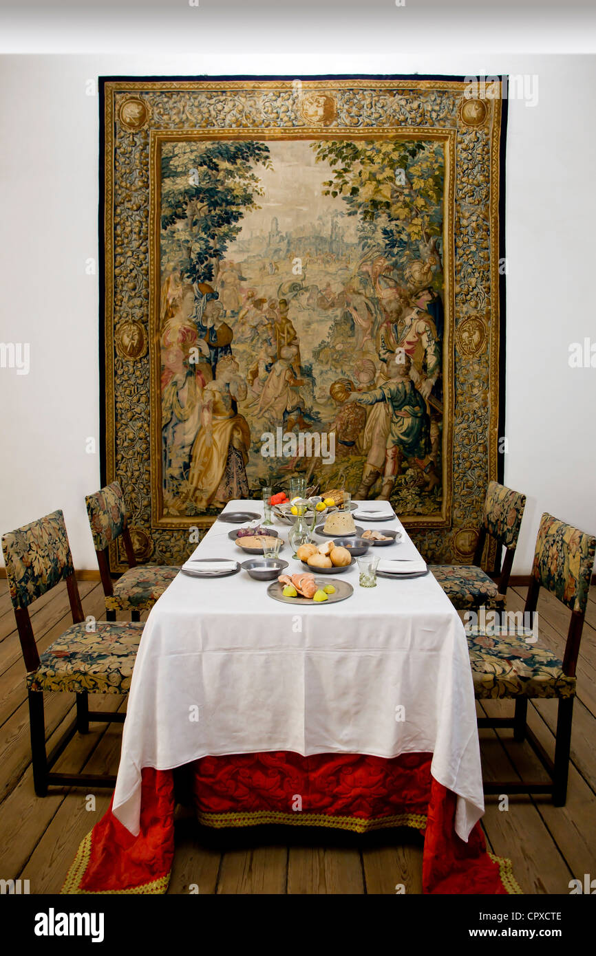 Historical dining room interior from Kronborg in Elsinore Denmark - Stock Image