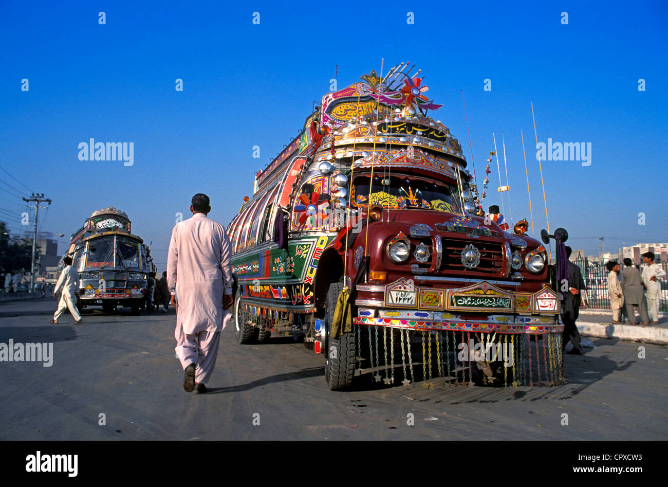 Pakistan, Lahore, Bus line - Stock Image