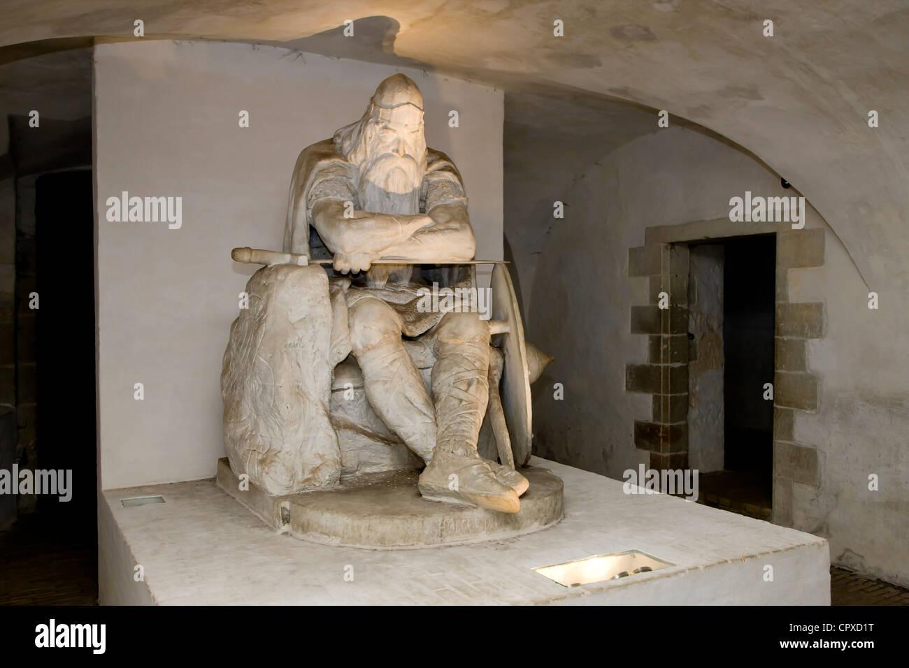 Statue of Ogier the Dane at Kronborg castle, Denmark (Holger Danske) - Stock Image
