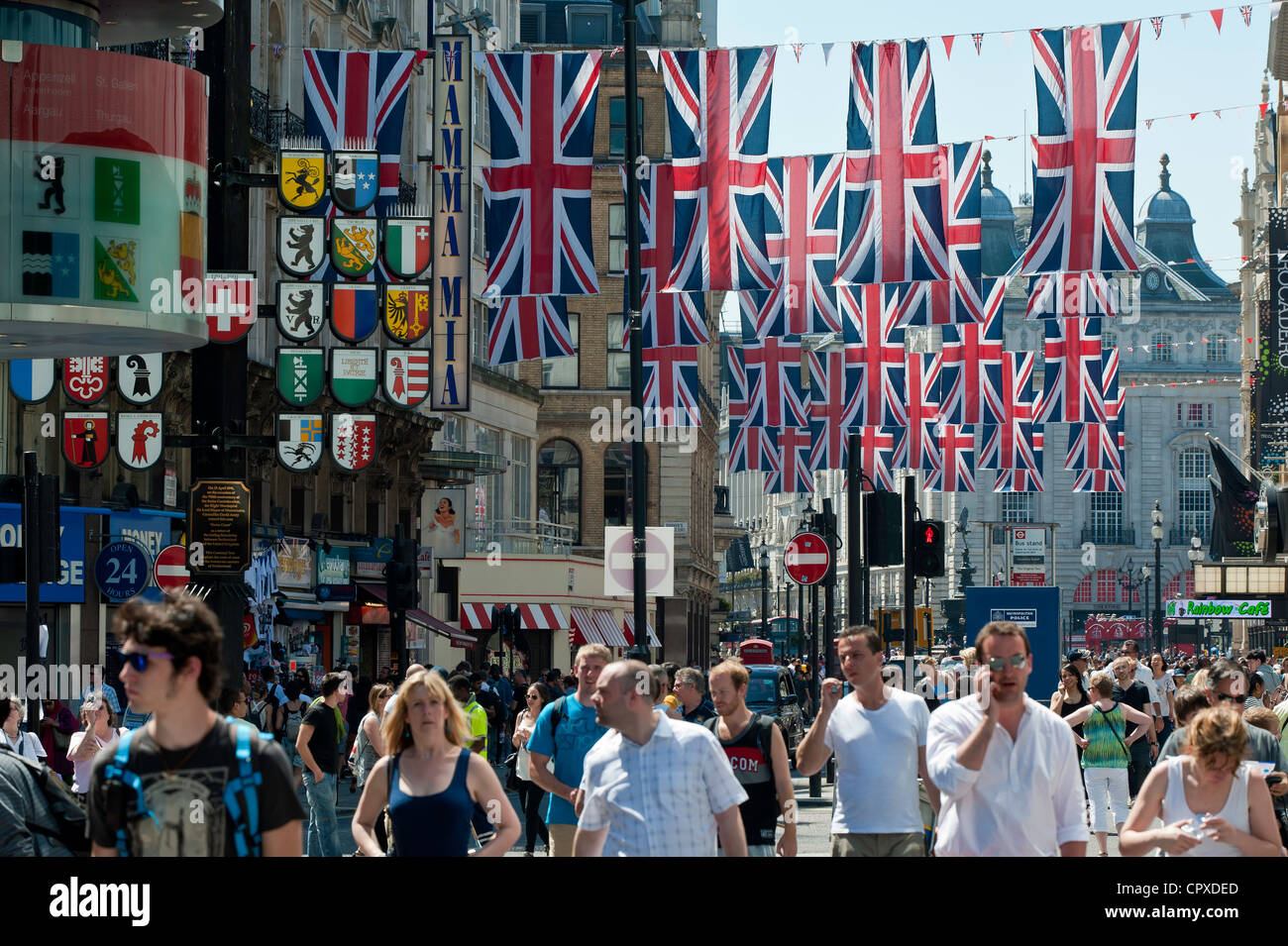 Leicester Square decorated in Union Jacks for Diamond Jubilee, London, United Kingdom - Stock Image