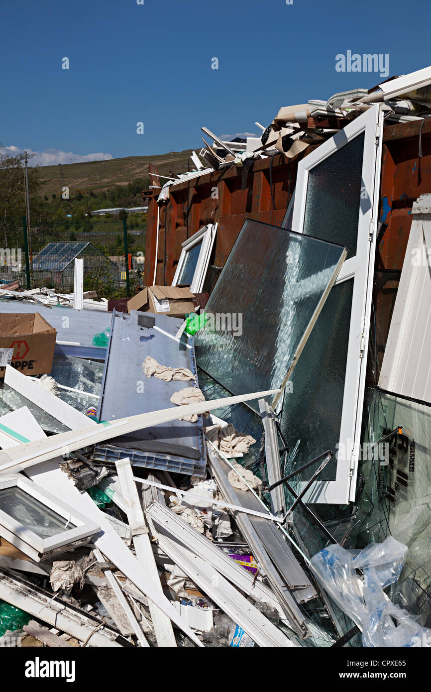 Waste uPVC from double glazing window and door manufacturing, Ebbw Vale, Wales, UK - Stock Image