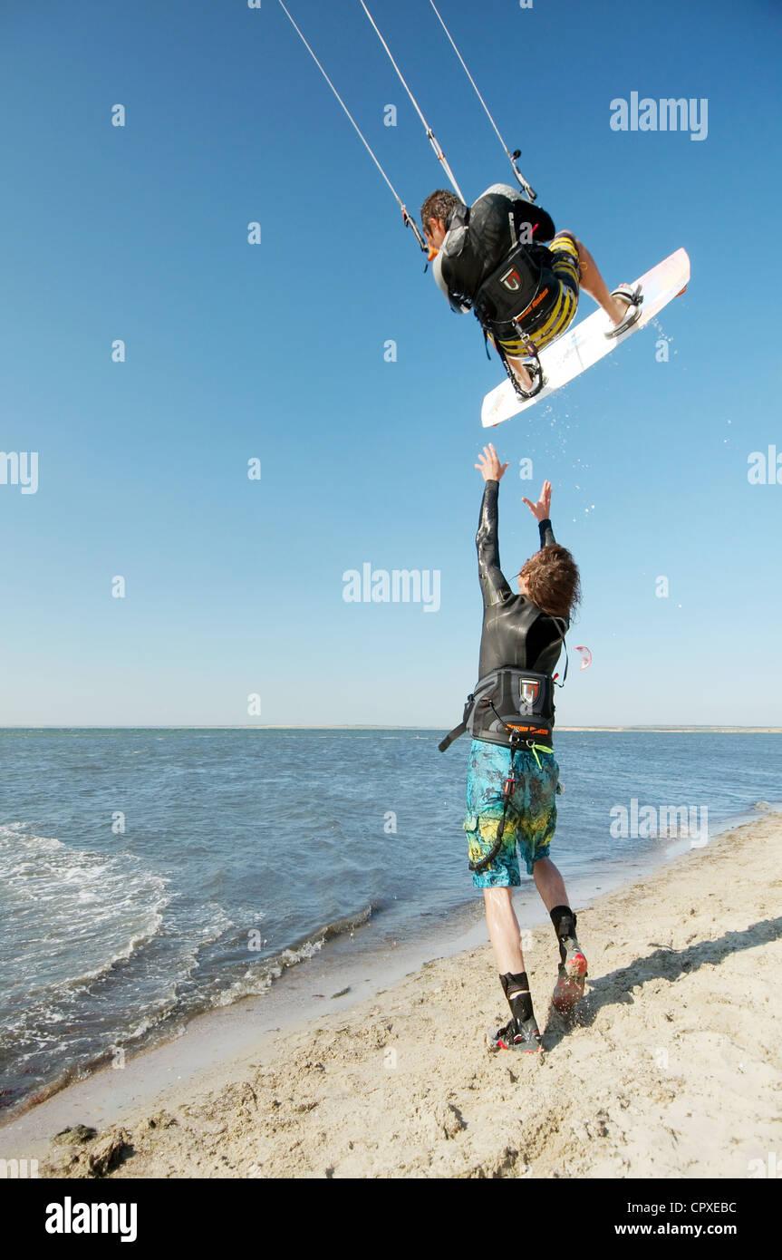 Kite surfer in Black sea, Ukraine - Stock Image