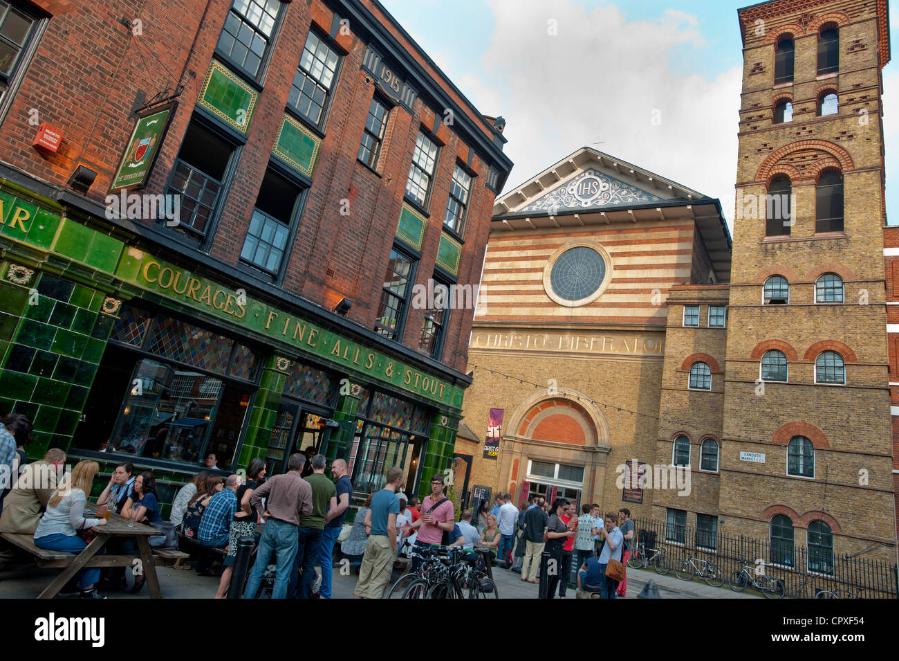 Bars and restaurants on Exmouth Market, London, United Kingdom - Stock Image