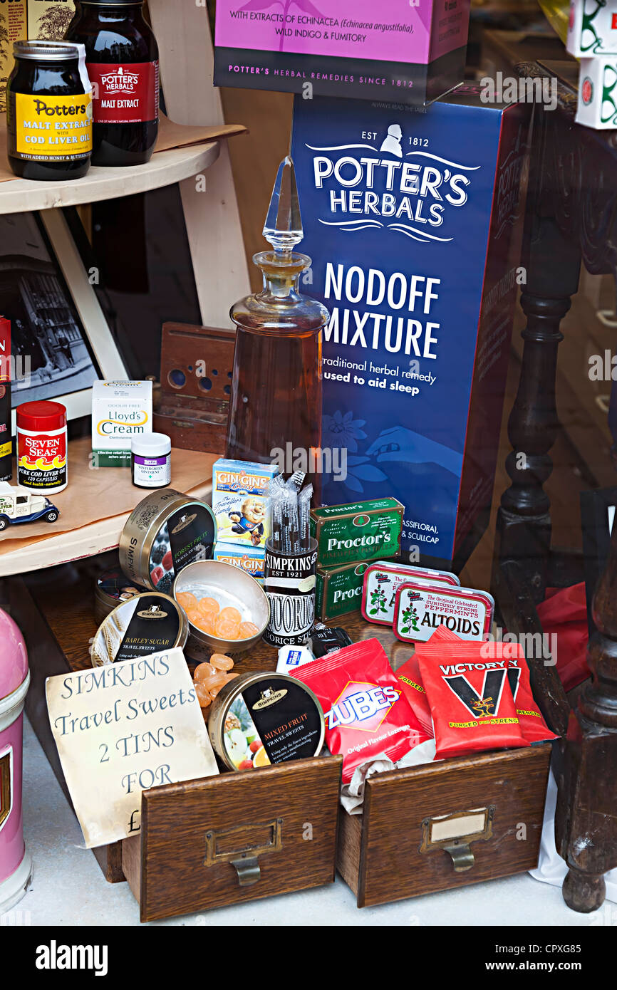 Display of old 1950s medical remedies, sweets and lozenges, Wales, UK - Stock Image