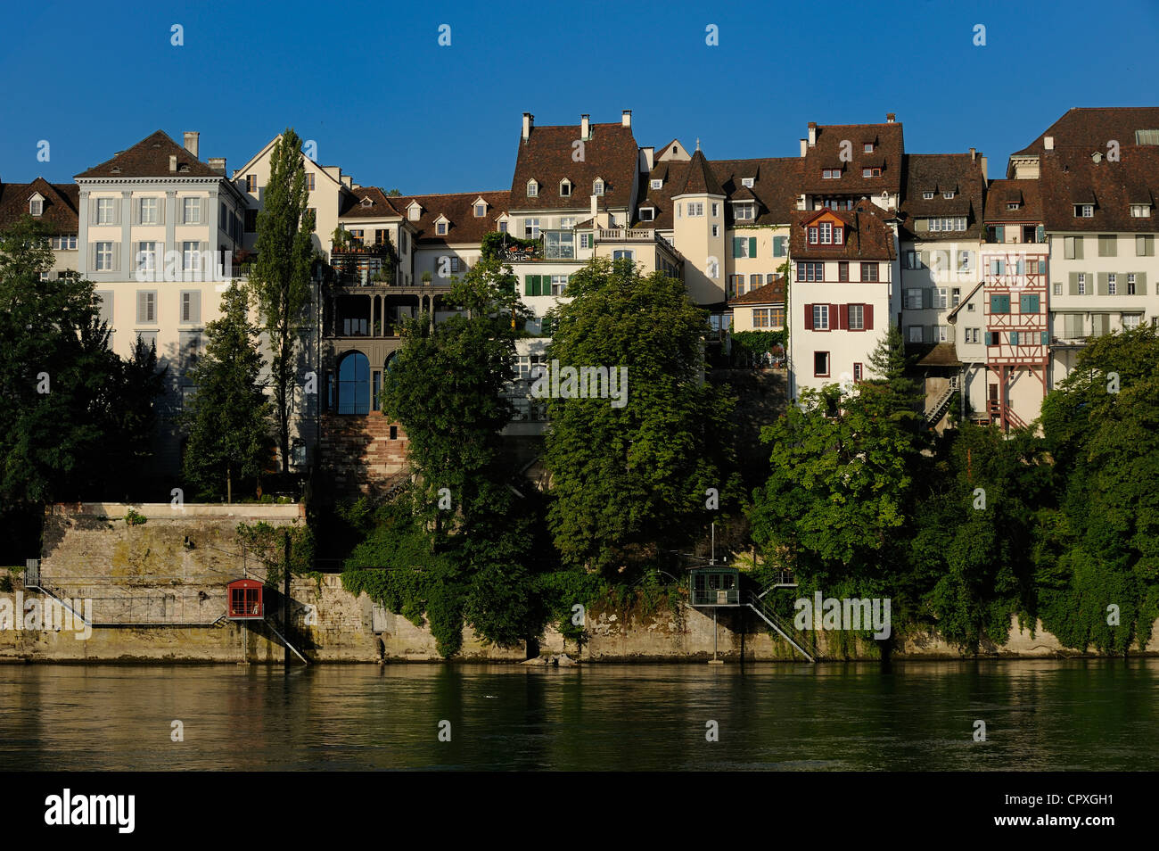 Switzerland, Canton Basel-Stadt, Basel, The left bank of the river Rhine and the Cathedral District - Stock Image