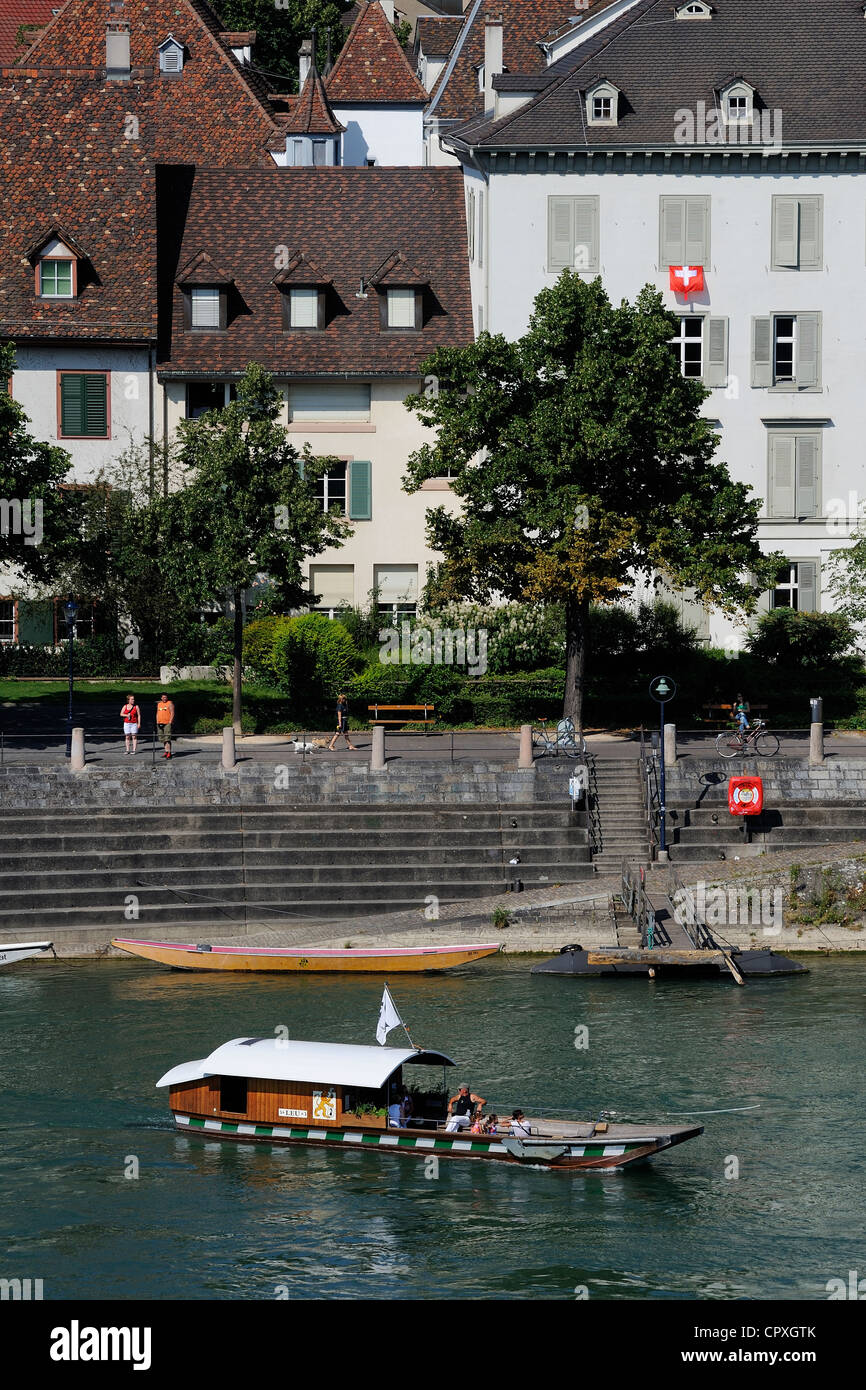 Switzerland, Canton Basel-Stadt, Basel, one of the little ferry boat used to cross the river Rhine - Stock Image