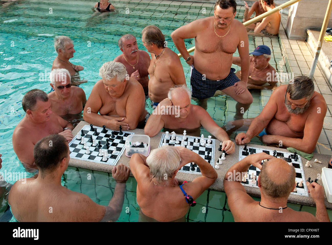 Hungary, Budapest, chest players, in one of the outside swimming pools in the Szechenyi Medicinal Bath - Stock Image