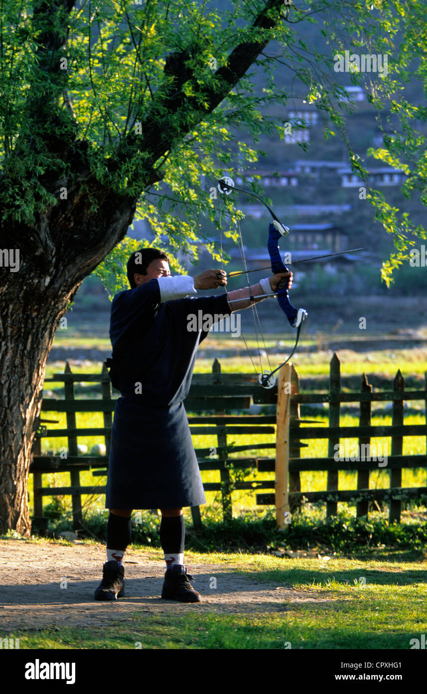 Bhutan, Bhutanese people are well-known for their dexterity in archery - Stock Image