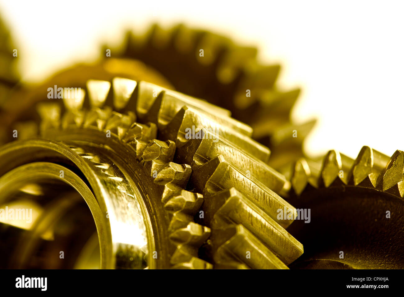 Colorfull gears isolated on white background - Stock Image
