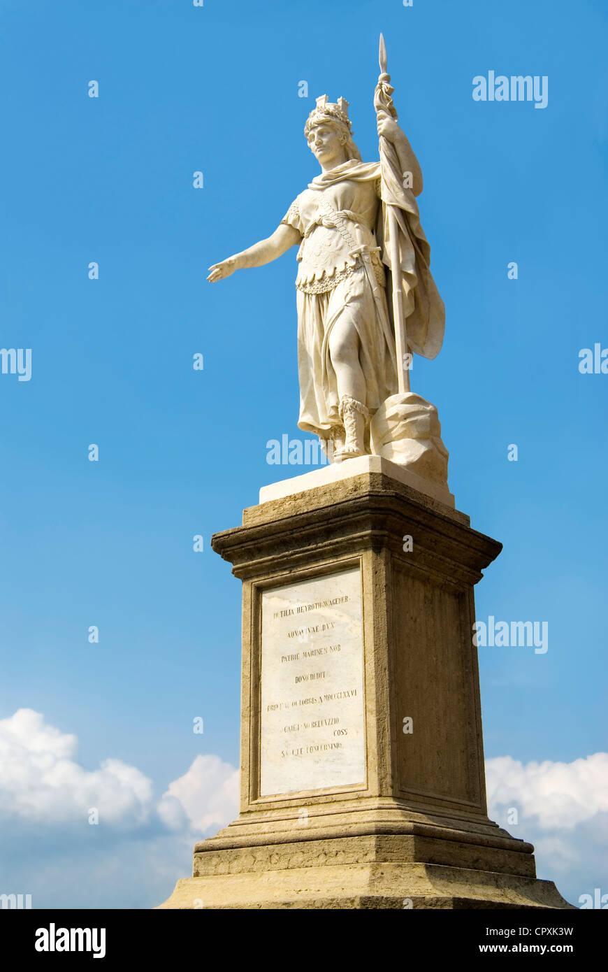 Statua della Libertà at historical town center of San Marino - Stock Image