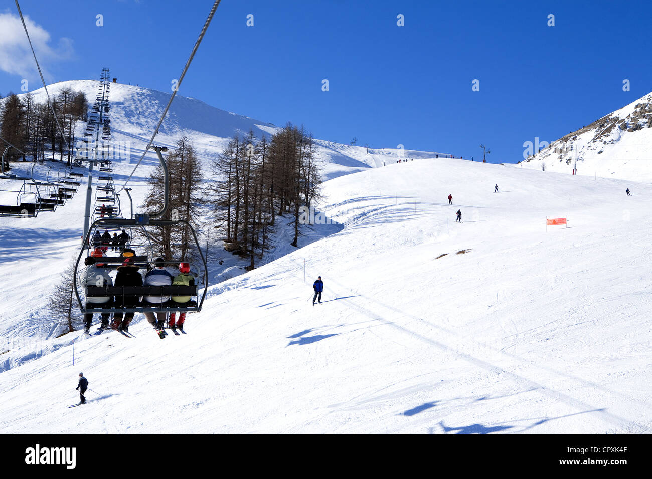 france, hautes alpes, ski resort of montgenevre stock photo