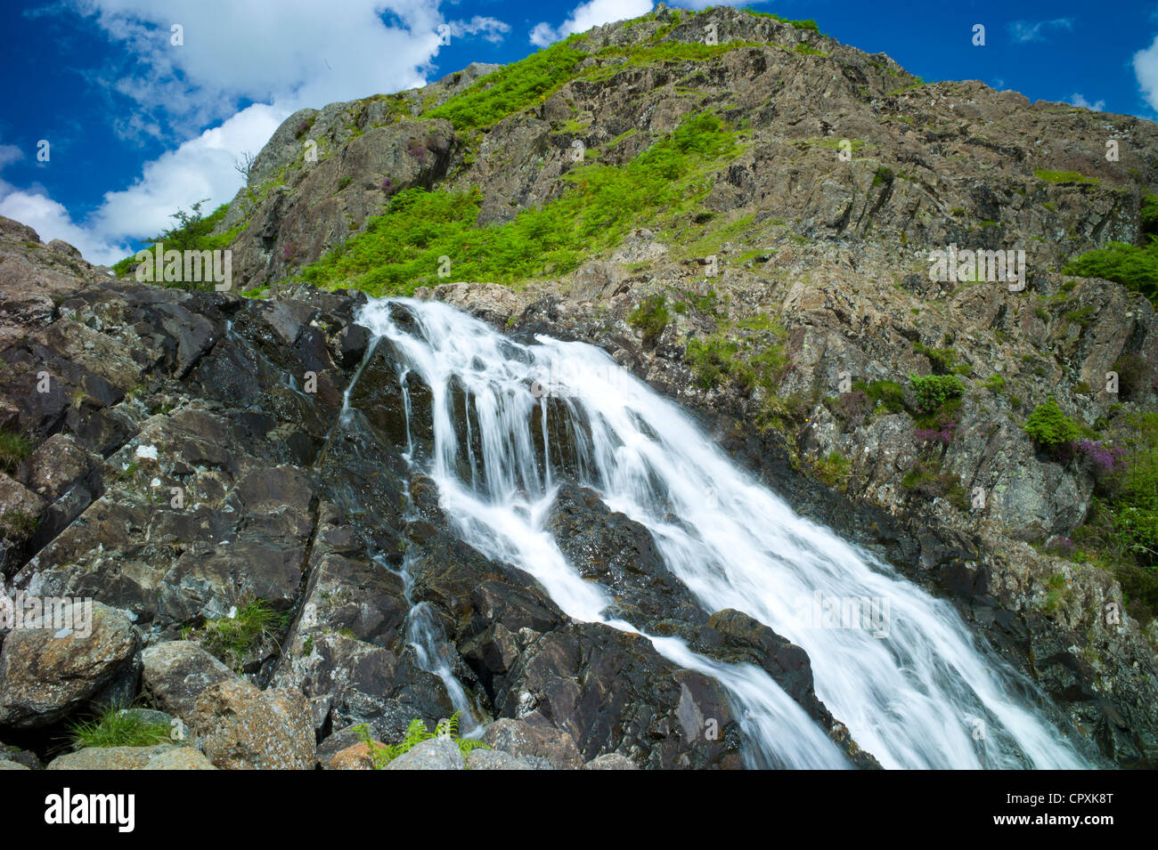 Lakeland countryside and waterfall ghyll at Easedale in the Lake District National Park, Cumbria, UK - Stock Image