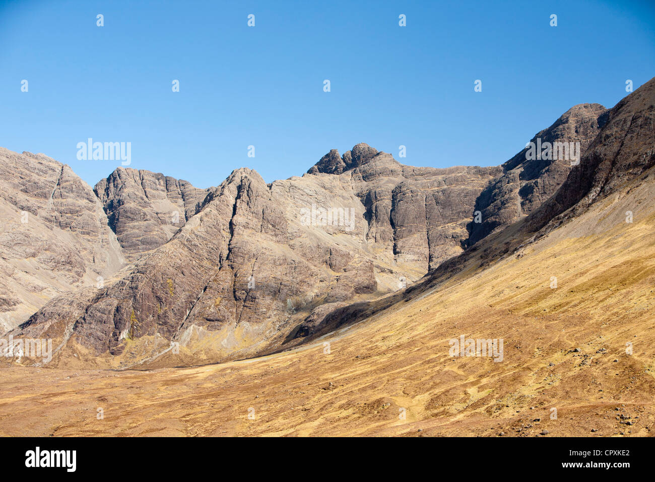 Waterpipe gully on Sgurr an Fheadain on the Cuillin Ridge, Isle of Skye, Scotland, UK. - Stock Image