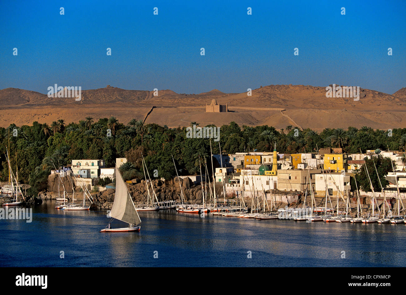 Egypt, Upper Egypt, Nile Valley, Aswan, feluccas on Nile River - Stock Image