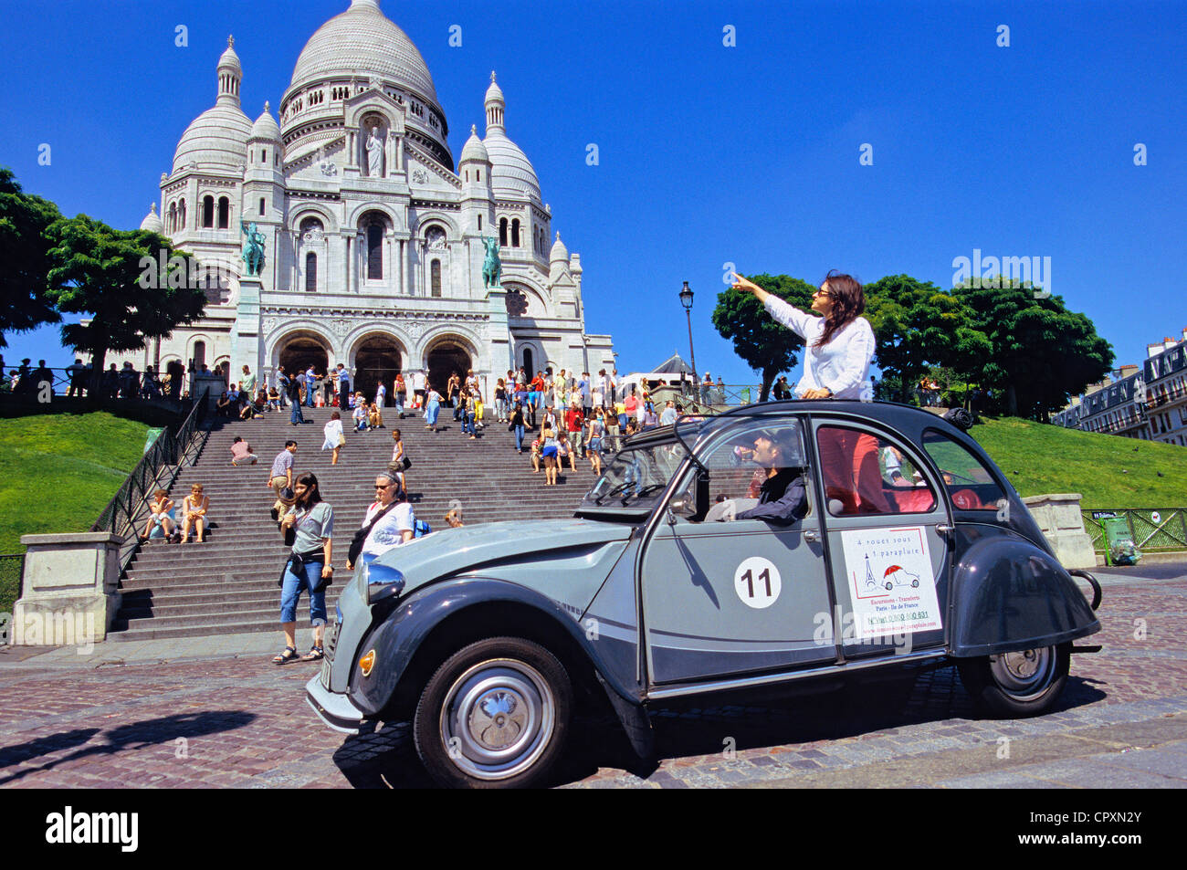 france  paris  2cv tour in paris  montmartre district  basilique du stock photo  48530467