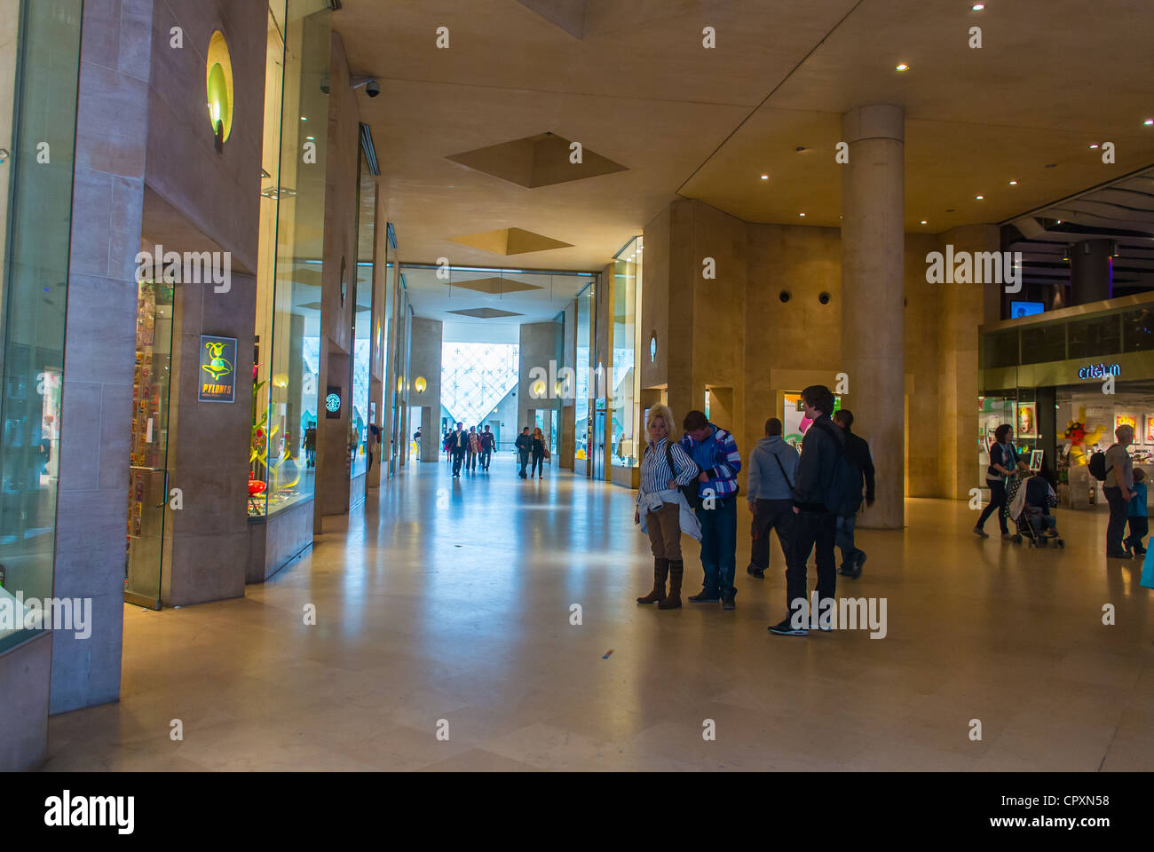 Paris, France, Shopping Center Mall, Louvre Carrousel, Shops, Boutiques, People Inside Hallway - Stock Image