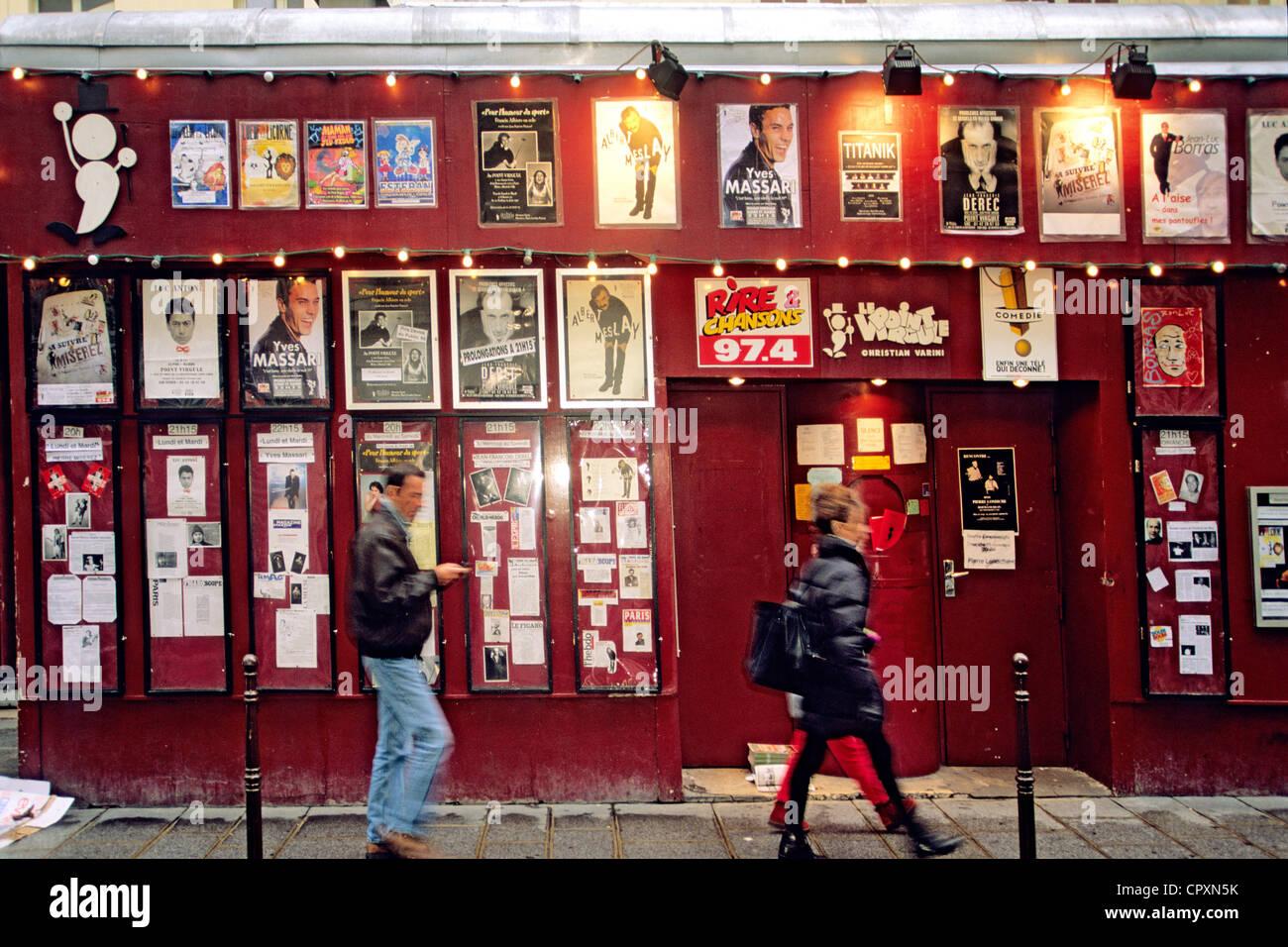 France, Paris, Le Marais District, Le Point Virgule Theatre in Rue Sainte Croix de la Bretonnerie - Stock Image