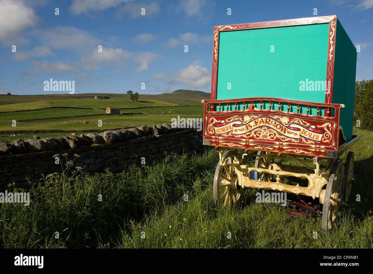 Gilded Carved and decorated Wagons and equipment belonging to travellers attending the annual Appleby horse fair, Stock Photo