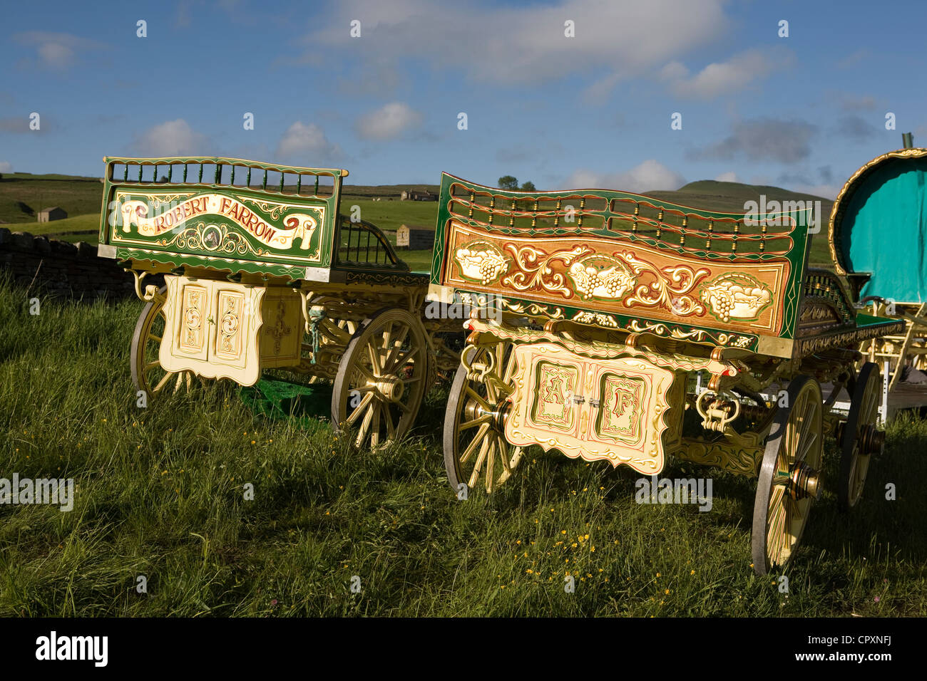 Drays, Horses, Wagons and equipment belonging to travellers attending the annual Appleby horse fair, Cumbria Uk Stock Photo