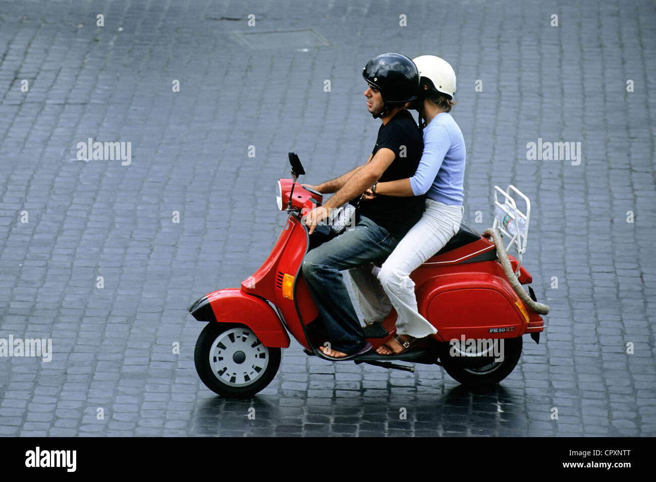 Italy, Lazio, Rome, Vespa, the archetypal means of transportation for Roman people - Stock Image