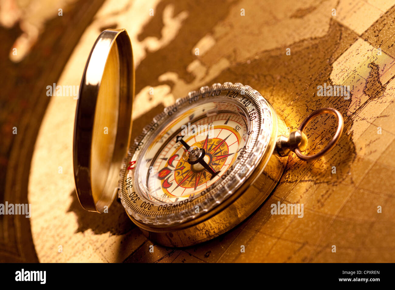 Vintage Navigation equipment, compass and other tools - Stock Image