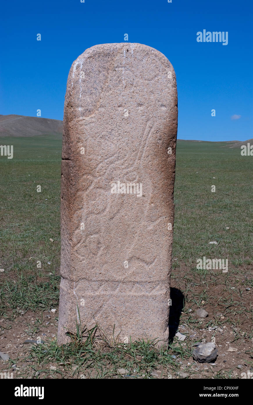 Mongolia, Khuvsgul region, sculpted stele representing a deer in homage to the ancesors dated 3th century - Stock Image