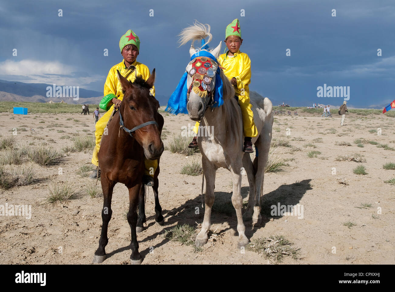 Mongolia, National Festival of Naadam, horse races, young jockey in racing clothes - Stock Image
