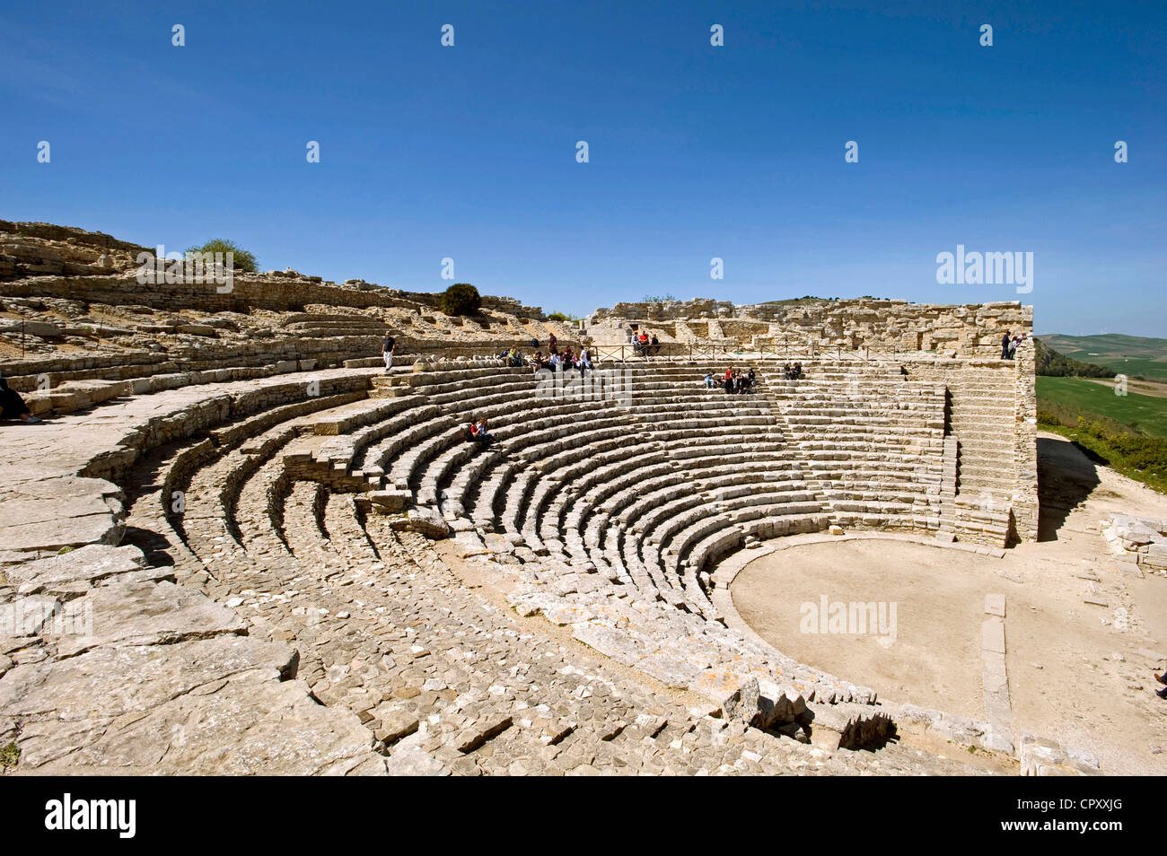 Italy, Sicily, Segesta archeological site, Antic theatre built in the 3th century BC - Stock Image