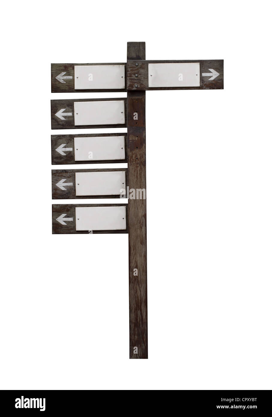 Old wooden road sign isolated on white - Stock Image