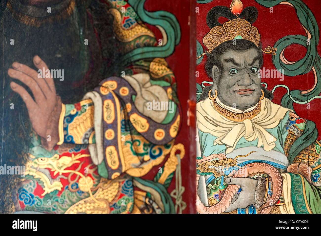 Taiwan, Tainan District, Tainan, Fahua Temple, detail of the door - Stock Image