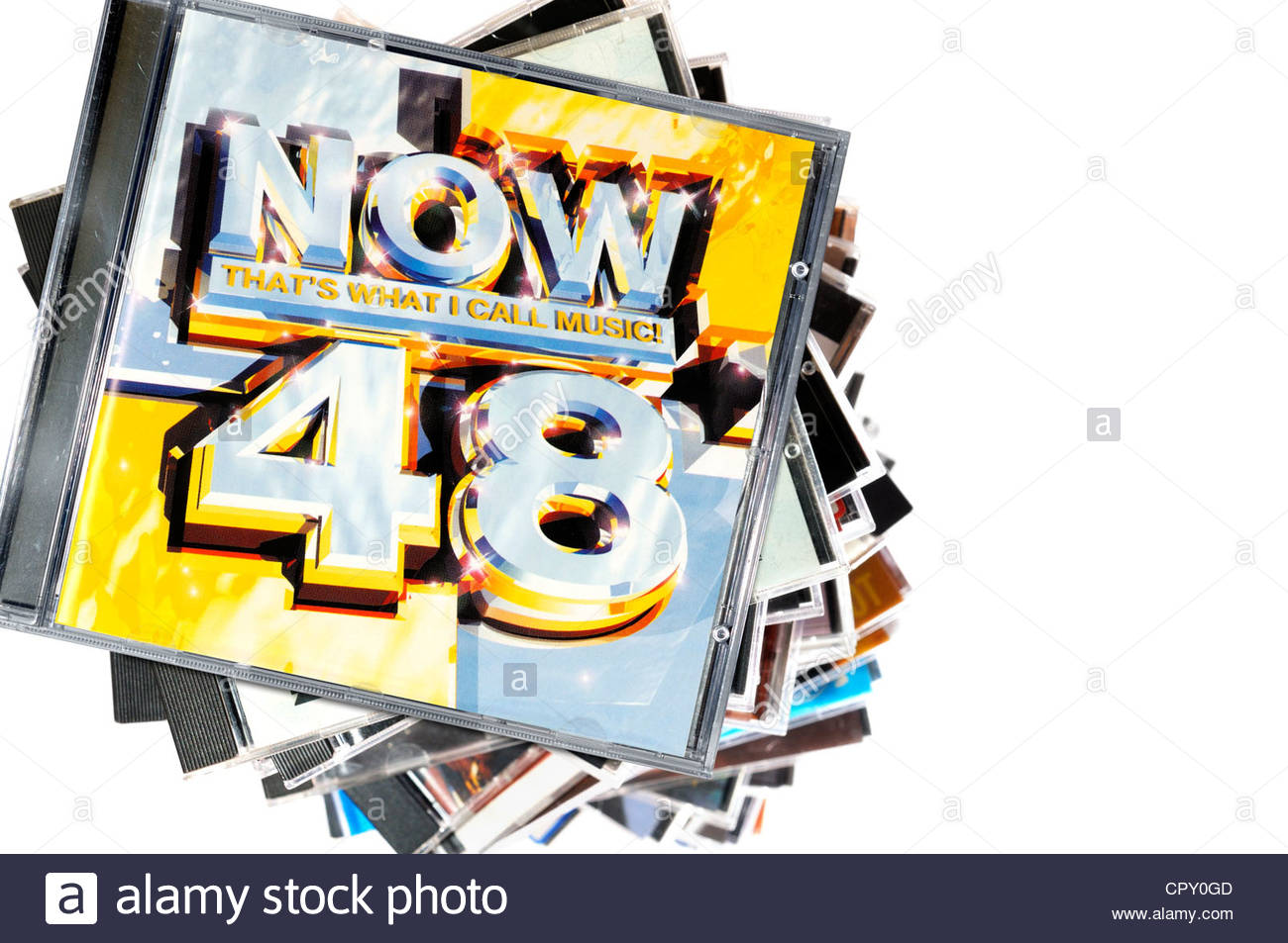 Now That's What I Call Music compilation CD, November 2013, pile of CD cases, England - Stock Image