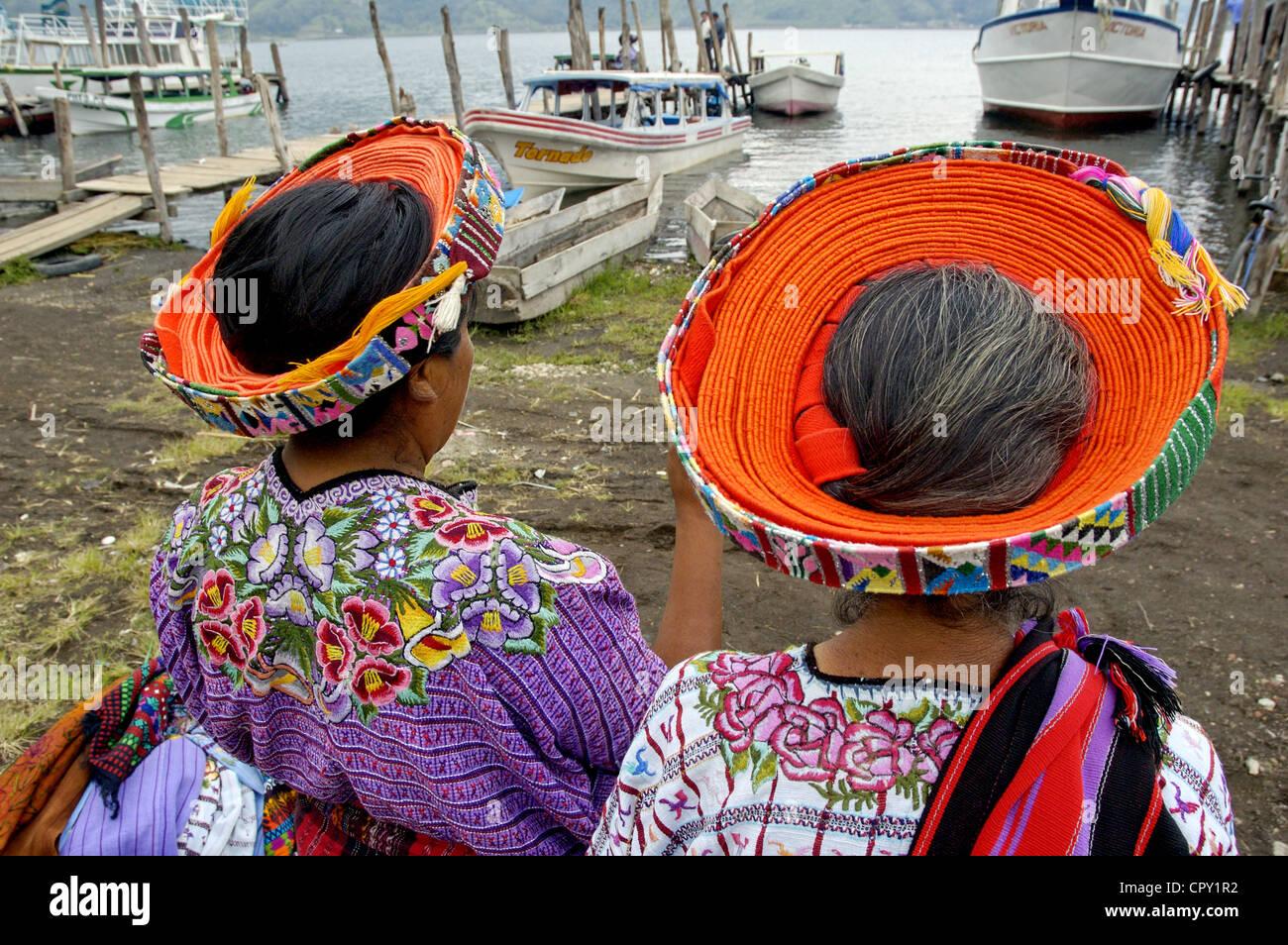 Guatemala, Santiago Atitlan, Indian wearing a tocoyal - Stock Image