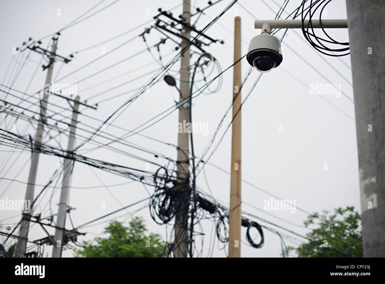 Surveillance Camera China Stock Photos Wiring Cctv Wires Cables Beijing Hutong Image