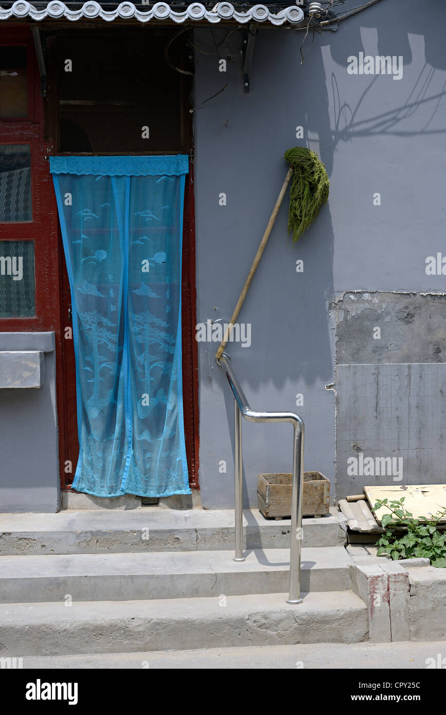 curtain mop in beijing hutong - Stock Image
