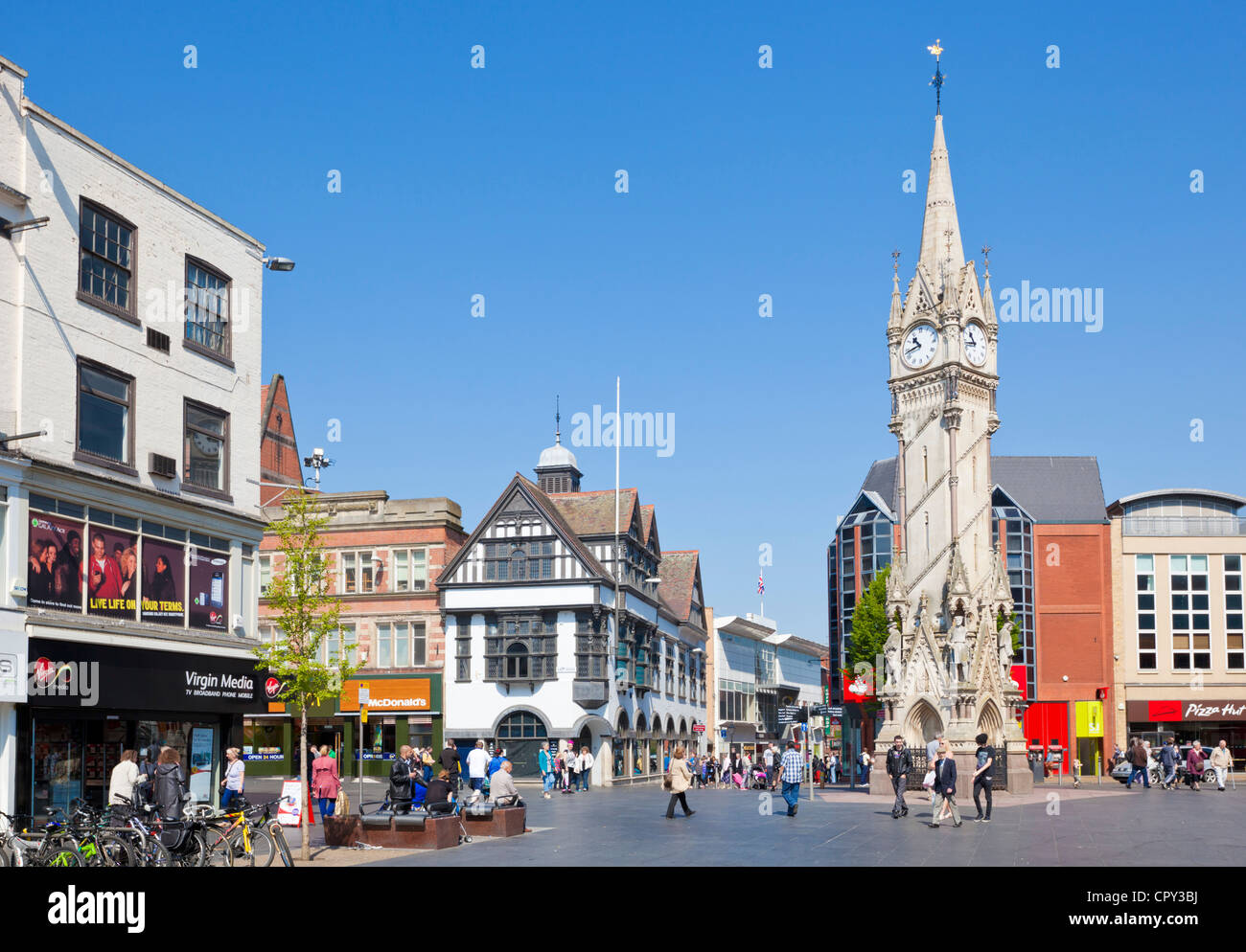 Victorian Haymarket Memorial Clock Tower Leicester city centre Leicestershire East Midlands England UK GB EU Europe - Stock Image