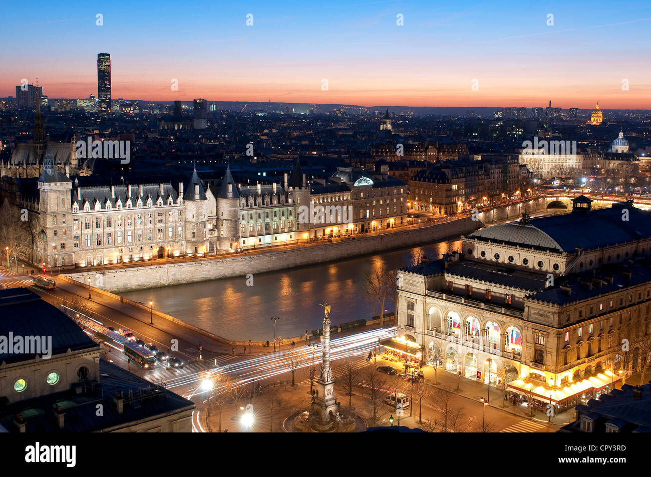 France Paris general view sunset with Conciergerie Châtelet square theatre on right banks of Seine listed as Word Stock Photo